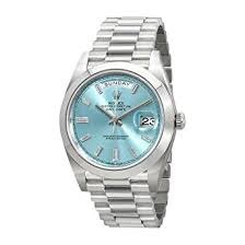 amazon com rolex oyster perpetual day date ice blue baguette dial rolex oyster perpetual day date ice blue baguette dial platinum president automatic mens watch 228206ibldp