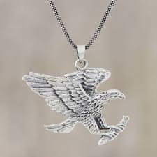 sterling silver eagle pendant necklace