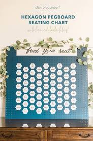 this diy hexagon pegboard seating chart is amazing