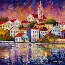 Simple Painting Simple Town Palette Knife Oil Painting On Canvas By Leonid