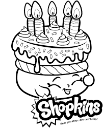 Free Shopkins Wishes Birthday Cake Coloring Page