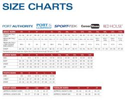 House Size Chart Size Chart Port Company Port Authority Sport Tek Red