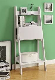 monarch specialties tall bookcase with drop down desk in white high ladder