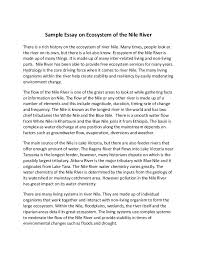 sample essay on ecosystem of the nile river sample essay on ecosystem of the nile river there is a rich history on the ecosystem
