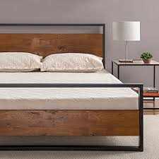 Amazoncom Zinus Ironline Metal And Wood Platform Bed With Headboard Footboard   Box Spring Optional