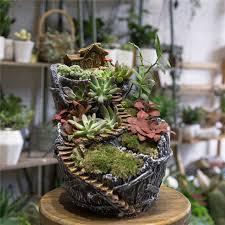 fairy garden pots. Desktop Fairy Garden Broken Bucket Resin Big Flower Pot Cottage Vertical Sculpture Planter Decorative Plants Succulents Pots