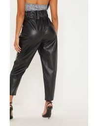 petite black pocket detail faux leather joggers