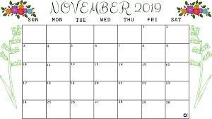 Printable November 2019 Calendar Worksheet Calendar Kart