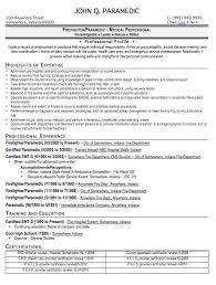 Emt Resume Experience Paramedic Resume Sample John Q Cover Letter