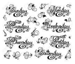 落書き漫画はカール曜日観賞用の花のデザインです英語のレタリング日曜日を開始します