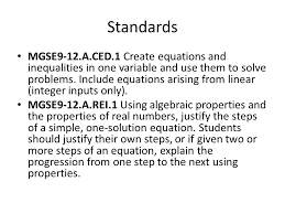 a ced 1 create equations and inequalities in one
