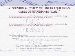 solving a system of linear equations using determinants cont 2