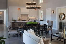 wagon wheel chandelier family room farmhouse with floor tile gray walls