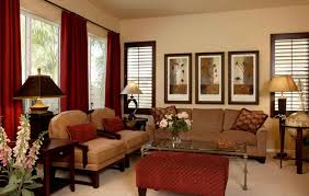 Red And White Living Room Decorating Living Room Red And Creem Colour Curtains With Brown And Cream