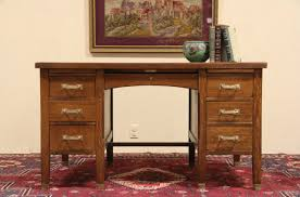 arts crafts 1915 mission oak signed globe wernicke desk