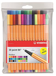 Fineliner Stabilo Point 88 Wallet Of 30 Assorted Colours Incl 5 Neon Colours