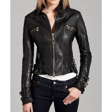 women s buckle straps design black leather moto jacket