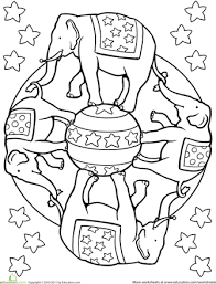 Small Picture Elephant Mandala Worksheets and Markers