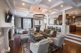living room with tv over fireplace. Family Room Ceiling Ideas Living Transitional With Home Office Tv Over Fireplace Coffered V
