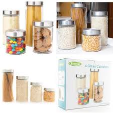 4 piece glass canister set with stainless steel lids 72 55 38