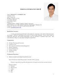 Personal Information Sheets Personal Information Sheet