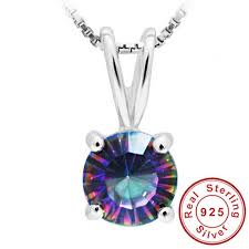 whole round natural mystic fire rainbow topaz pendant charm for girl pure solid genuine 925 sterling silver brand high quality jewelry necklaces for