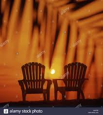 Adirondack chairs silhouetted on palm lined beach at sunset Stock
