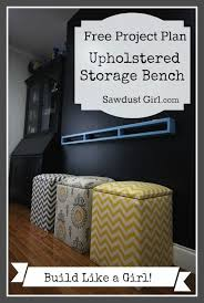 upholstered storage bench tutorial from sawdust girl