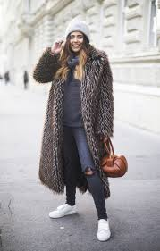 brown long faux fur coat