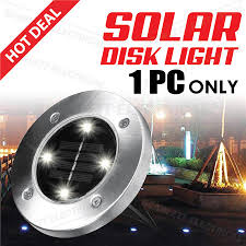 Disk Lights Solar Waterproof Solar Power 4 Led Disk Lights Outdoor Landscape Pathway