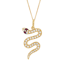 snake with ruby eye necklace in yellow gold