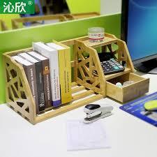 bamboo retractable shelves desktop bookshelf desk office bookcase shelf bookcase simple small wood bookcase