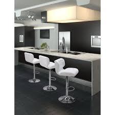 Modern Style Bar Stools Zuo Formula Adjustable Height White Cushioned Bar Stool 300217