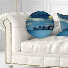 pier seascape wooden pier and seas throw pillow
