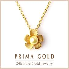 one pearl pure gold pendant 24k pure gold gold yellow gold flower pearl pendant top lady present gift birthday primagold