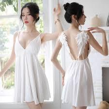 Sexy Sling Night Dress V neck Nightdress Set Backless Temptation ...