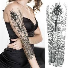 водостойкая временная татуировка наклейка полная рука большой размер старая