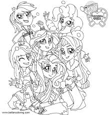 My Little Pony Equestria Girls Coloring Pages Line Drawing Free