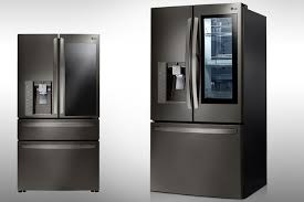 lg refrigerator instaview. a cool design solely on aesthetic terms, the instaview feature minimizes energy loss owed to over-inspection and indecisiveness vis food choices. lg refrigerator instaview t