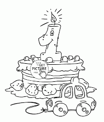 Small Picture Tiger and Big Birthday Cake coloring page for kids holiday