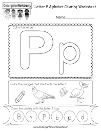 Teach your preschooler all about the letter l with this reading worksheet. Letter P Coloring Worksheet Free Kindergarten English Worksheet For Kids