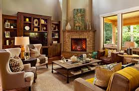 fabulous family room decor with creative stone around corner fireplace ideas and unique square comfortable design also using contemporary chairs decoration
