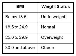 Bmi Status Chart Weight Management And Bmi Nutrition And Health Status In