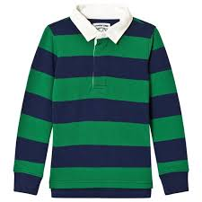land s end navy and green stripe rugby tee 50e
