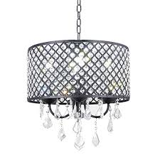 new galaxy 4 light antique black round metal shade crystal chandelier pendant hanging ceiling fixture