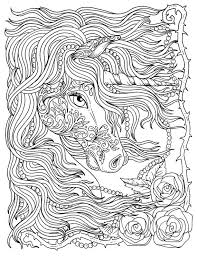 Realistic Fantasy Coloring Pages Beautiful Unicorn And Pearls