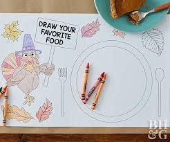 Color in sheet thanksgiving week: Thanksgiving Coloring Placemats Better Homes Gardens