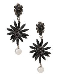 delicate and elegant 00n99 black marni flower chandelier earrings womens earrings ormvv38n00s2000