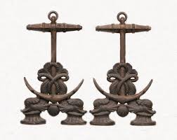marked 142 on the back of each andiron but the manufacturer is unknown dimensions are 16 h x 9 1 2 w x 17 deep pair weighs approx 20 lbs