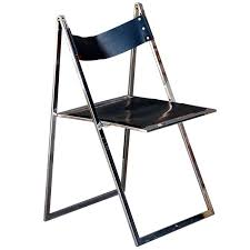 minimalistic chrome and leather folding chair edited by lübke for